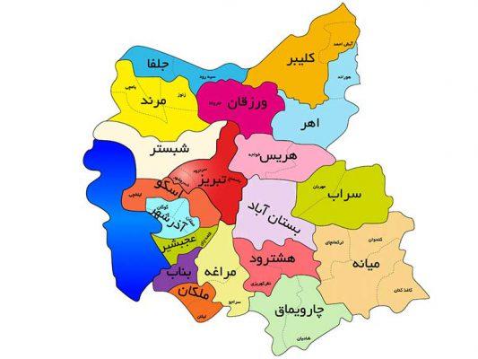 نقشه تبریز نقشه آذربایجان شرقی east azarbaijan tabriz map
