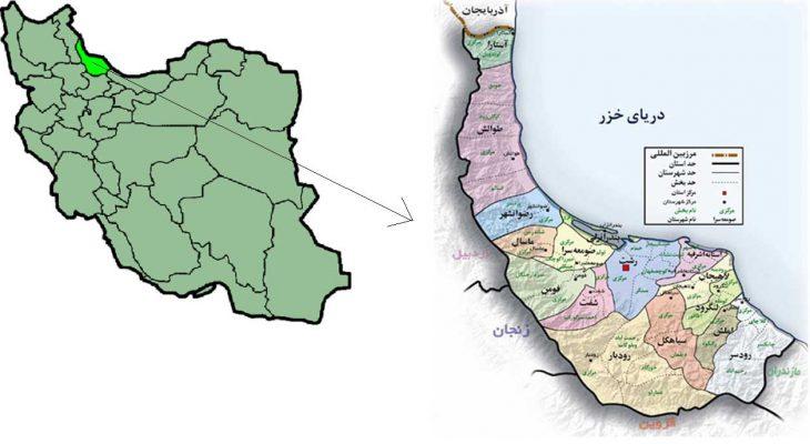 نقشه گیلان gilan map رشت