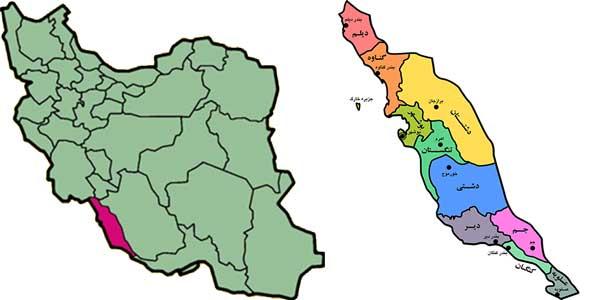 نقشه بوشهر استان بوشهر شهر بوشهر boushehr map iran