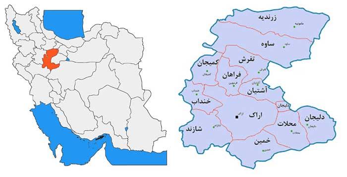 ثبت برند در اراک استان مرکزی نقشه استان مرکزی markazi map